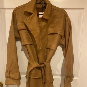 NWT Oversized Suede Trench Coat